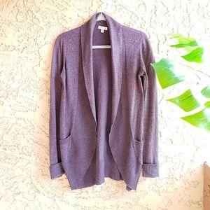 Anthro Silence + Noise purple knit cardigan